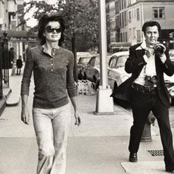 Always imitated for her style, Jackie's post-White House looks usually involved oversized shades and a Gucci Constance.