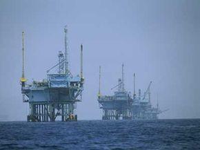 Oil rigs in the haze of California's Santa Barbara Channel
