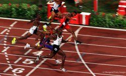 Donovan Bailey of Canada, Frank Fredericks of Namibia and Ato Bolden of Trinidad and Tobago took gold, silver and bronze respectively at the 1996 Atlanta Olympic Games.