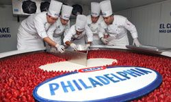Chefs cut the Guinness World Record-winning biggest cheesecake, which is 2.5 meters in diameter, 55 centimeters high and weighs 2 tons.
