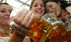 These women look happy to be imbibing their alcohol at Oktoberfest in Munich, Germany, rather than putting it on their sensitive skin.