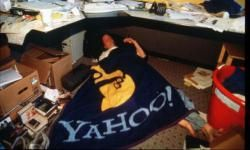 A time capsule of the Internet age: A Yahoo employee takes a break from work in 1997.