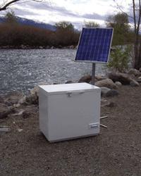 The SunDanzer is a solar-powered refrigerator.