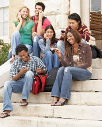 Why are these friends so happy? Maybe because they all signed up for a family cell phone plan.
