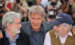Executive producer George Lucas, actor Harrison Ford and director Steven Spielberg pose during the 61st International Cannes Film Festival in 2008.