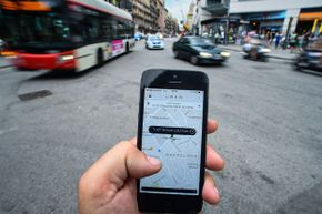 The new smartphone taxi app 'Uber' shows how to select a pick up location in Barcelona, Spain.
