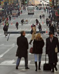 A transit strike bumps up the number of people walking to work in the already walkable New York City.