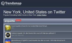 Want to know what people are excited about in New York City? With TrendsMap, you'll know immediately what the city's most popular Twitter topics are.