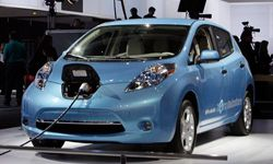 The Nissan LEAF, a 100 percent electric, zero-emission car, is seen at the LA Auto Show on Nov. 17, 2010, in Los Angeles.