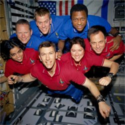 That's Ilan Ramon (bottom right in red) with the rest of the STS-107 crew. Israel hasn't given up on space since losing one of its own in the Columbia accident though.