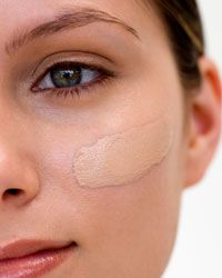 Apply foundation with a brush so that you don't irritate your skin.