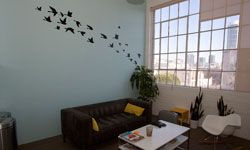 Twitter headquarters -- and a flurry of birdspainted on the wall.