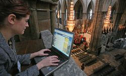 Westminster Abbey's online editor sends out tweets during rehearsals for the Commonwealth Observance in London, England. See more web site pictures.