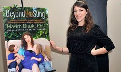 """Television star Mayim Bialik promotes her attachment parenting guide, """"Beyond the Sling."""""""