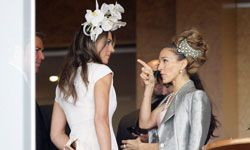Elizabeth Hurley and Sarah Jessica Parker show off their flare for fascinators at Crown Oaks Day at Flemington racecourse in Melbourne, Australia.