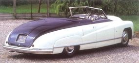 The convertible's body detailing will remind American car buffs of a late-1940s Buick Roadmaster.
