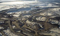 Aerial views of the Syncrude Canada Ltd. and Suncor Energy Inc. tar sands in Canada.