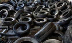 Solid waste like old tires can be used to make feedstock for synfuel production.