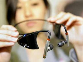 Sony displays the company's new wireless stereo headphone 'DR-BT160AS', which enables a user to transmit digital music content from an audio player or mobile phone with Bluetooth technology. See more Bluetooth pictures.