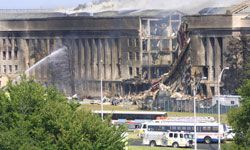 Some conspiracy theorists believe a missile hit the Pentagon instead of a plane.